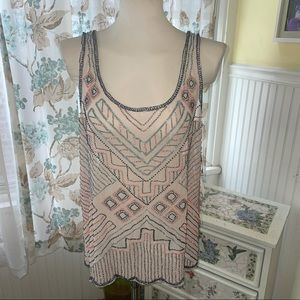 Willow & Clay pink beaded tank top size L NWT
